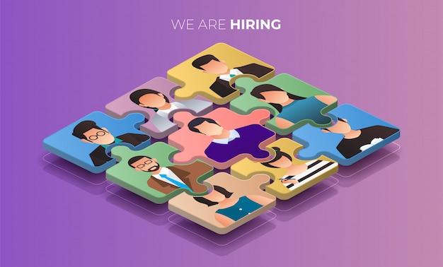 Illustrate  concept the finding employee. hr job seeking.  illustrate. Premium Vector