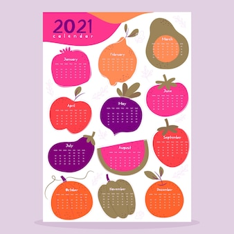 Иллюстрированный шаблон календаря на 2021 год