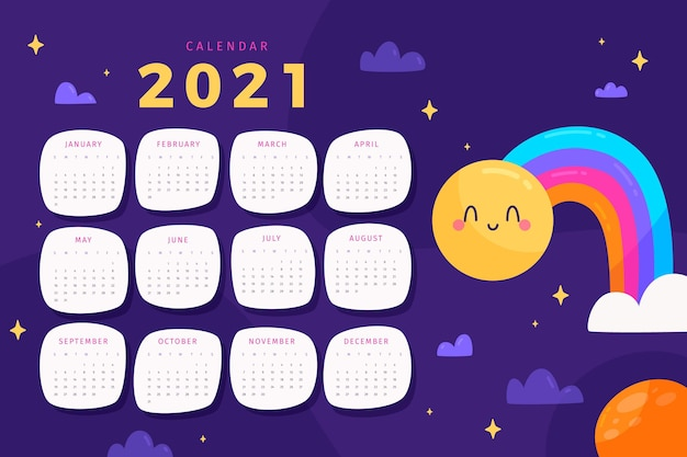 Illustrated 2021 calendar template