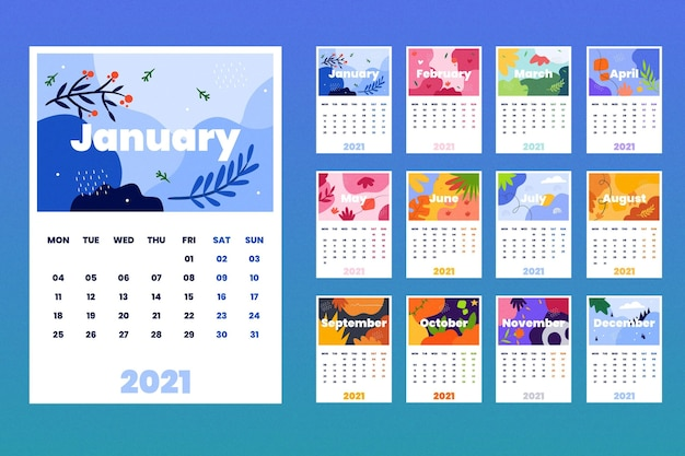 Modello di calendario 2021 illustrato