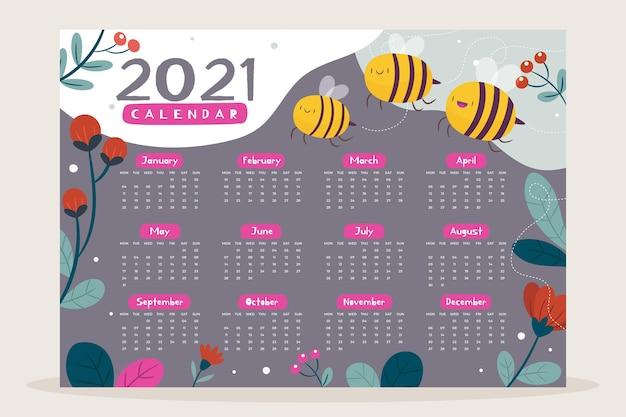 2021 캘린더 템플릿 일러스트