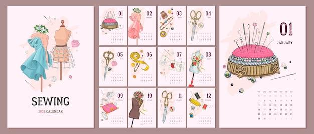 手描きの縫製アクセサリー付きのイラスト入り2022年カレンダーテンプレート