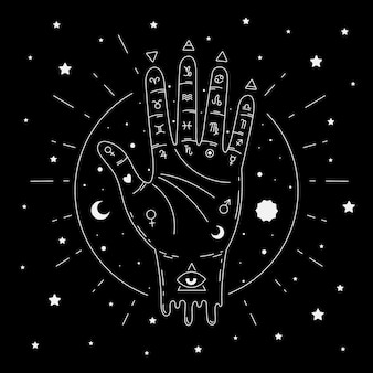 Illustrated abstract palmistry concept