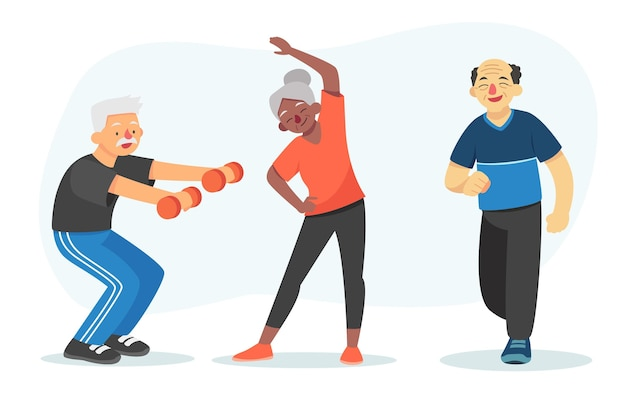 Illustrated active elderly people