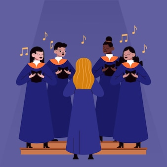 Illustrated adults singing together in a gospel choir