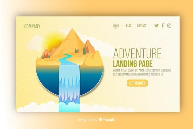 Pagina di destinazione avventura illustrata