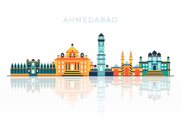 明るい色で描かれたアーメダバードのスカイライン