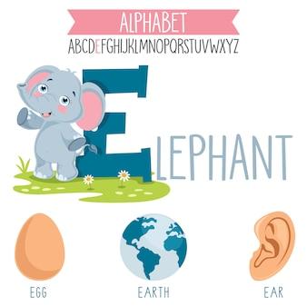 Иллюстрированная буква алфавита и мультипликационные объекты