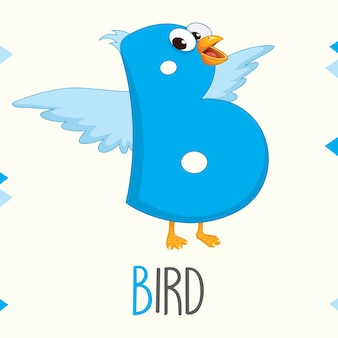 Illustrated alphabet letter b and bird