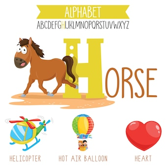 Illustrated alphabet letter and cartoon objects