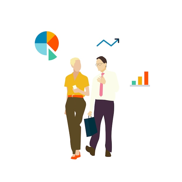 Illustrated avatar business people walking
