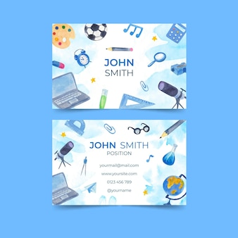 Illustrated back to school business card template