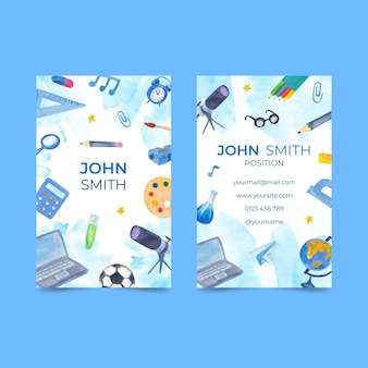 Illustrated back to school business card