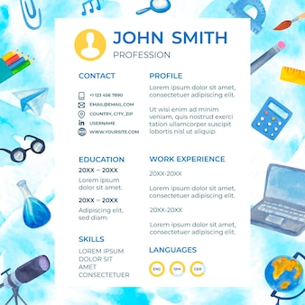 Illustrated back to school cv template