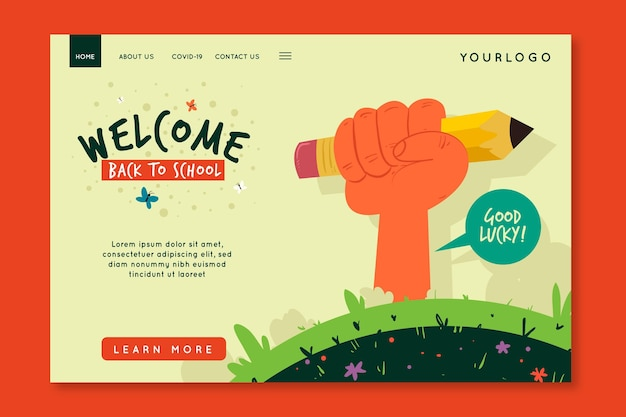 Illustrated back to school home page template