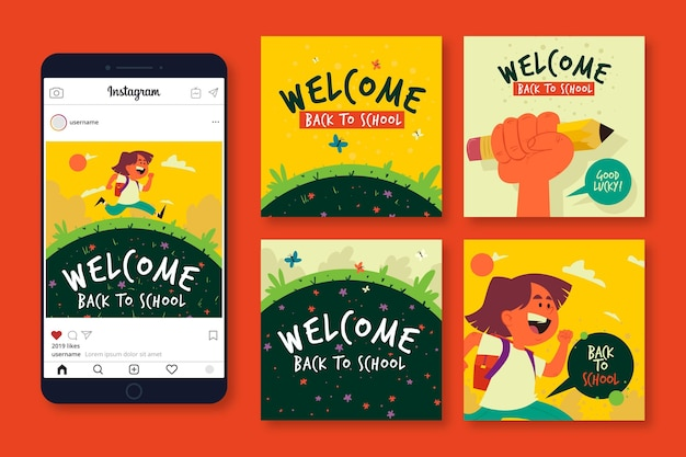 Illustrated back to school instagram posts set
