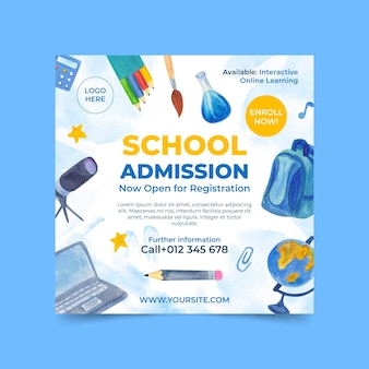 Illustrated back to school square flyer template