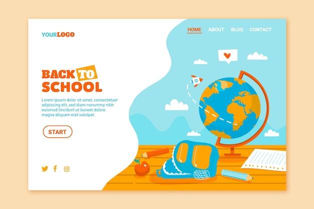 Иллюстрированный обратно в школу шаблон целевой страницы