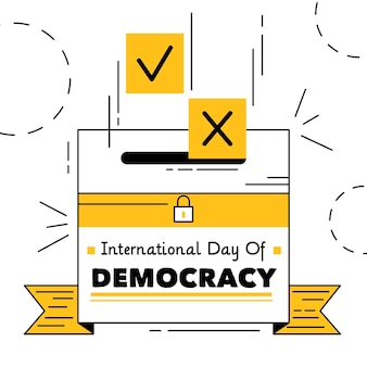 民主主義の日のためのイラスト入り投票箱