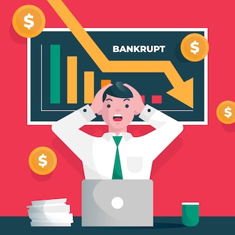 Illustrated bankruptcy concept