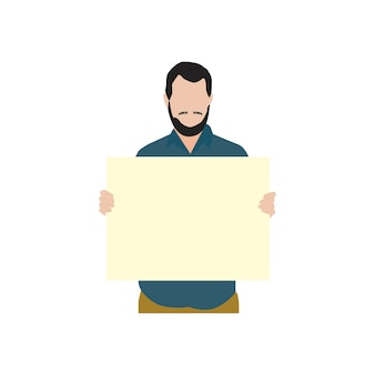 Illustrated bearded man holdin blank paper