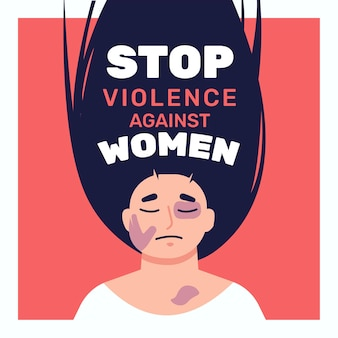 Illustrated beaten woman with stop violence against women text