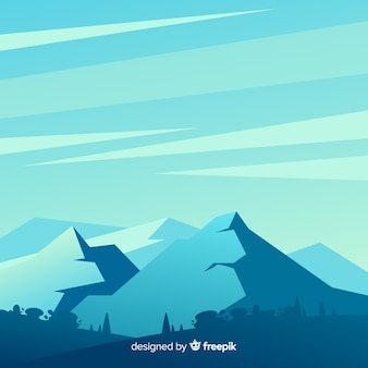 Illustrated blue gradient mountains landscape