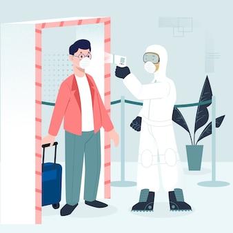 Illustrated body temperature check concept