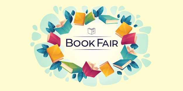 Illustrated book fair background