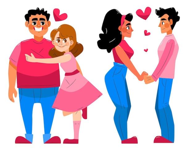 그림 된 남자 친구와 여자 친구 컬렉션