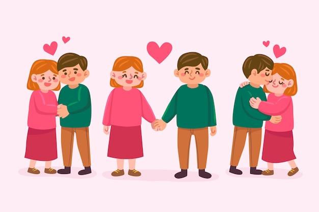 Иллюстрированный набор парня и девушки