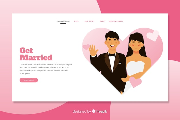 Illustrated bride and groom on wedding landing page template