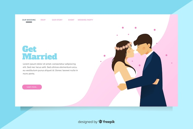 Illustrated bride and groom on wedding landing page