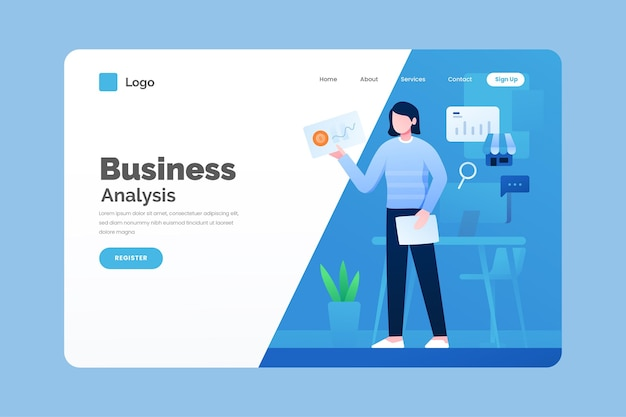 Illustrated business landing page template