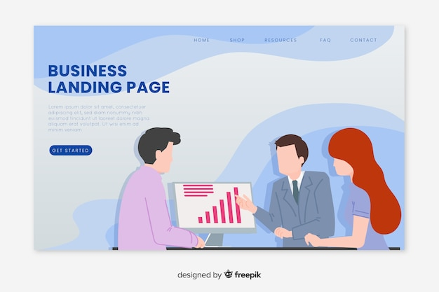 Illustrated business landing page