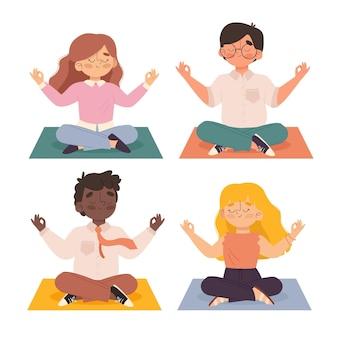 Illustrated business people meditating