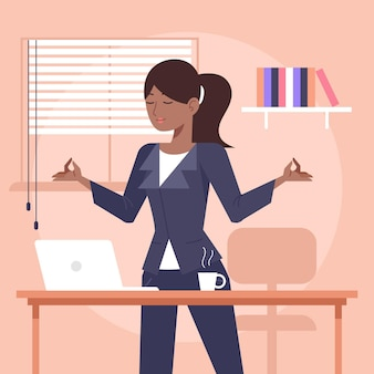 Illustrated business person meditating
