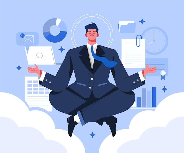 Иллюстрированный деловой человек медитирует