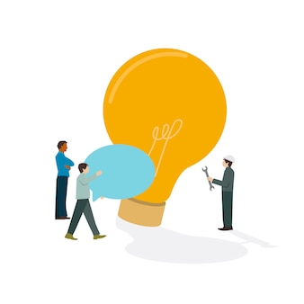 Illustrated businesspeople brainstorming light bulb icon