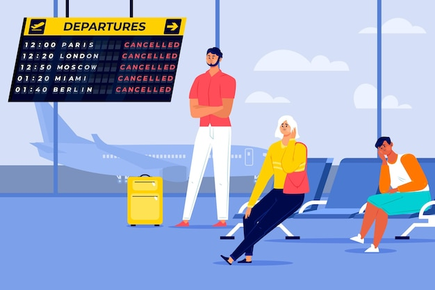 Illustrated cancelled holiday flights