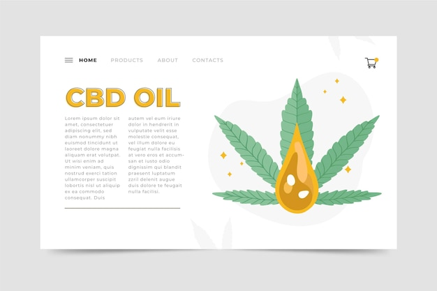 Illustrated cannabis oil web template