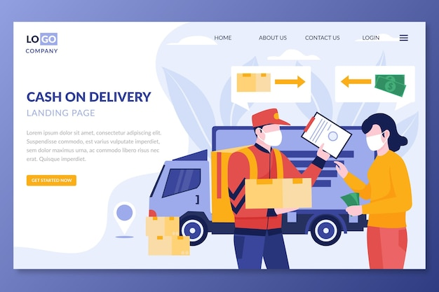 Illustrated cash on delivery landing page