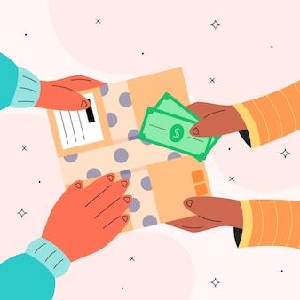 Иллюстрированная концепция наложенного платежа
