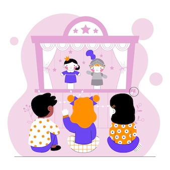 人形劇を見ているイラスト入りの子供たち