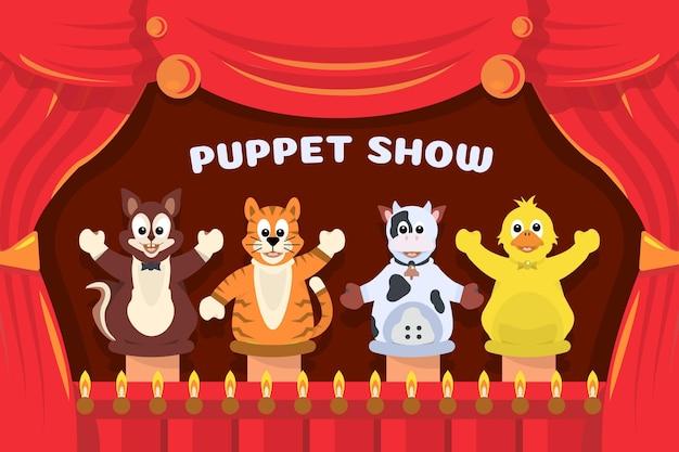 Illustrated children watching puppet show
