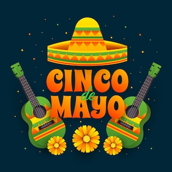 Illustrated cinco de mayo lettering and hat