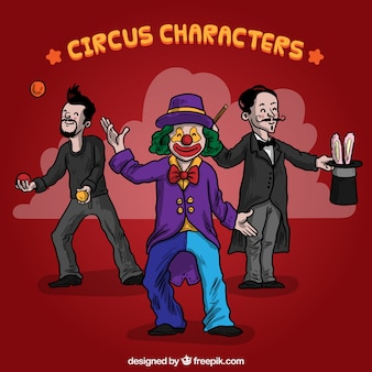 Illustrated circus characters