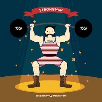 Illustrated circus strongman
