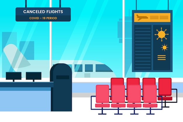 Illustrated closed airport in pandemic time