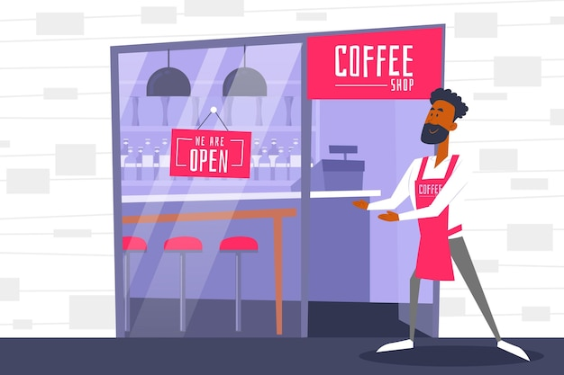 Illustrated coffee shop worker next to open sign
